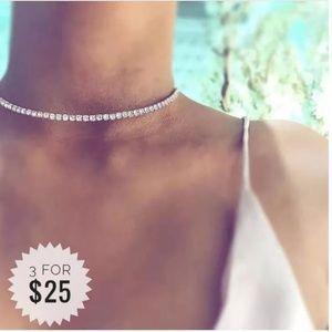 Silver Rhinestone Crystal Choker Necklace A14